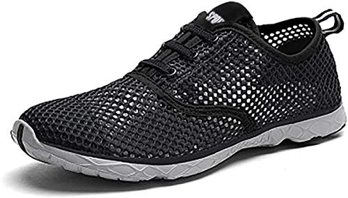 gracosy Mens Womens Water Sport Shoes, Quick Drying Aqua Beach Barefoot Shoes Athletic Outdoor Sneaker Slip on for Fishing Surfing Black 8 M US Women / 7.5 M US Men