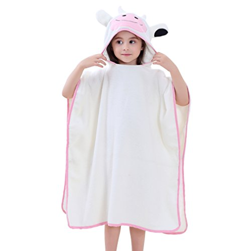 MICHLEY Niños Niñas Capucha Toallas de baño Bebé Albornoz Ropa Niño Suave Animal Algodón Manta Regalos Para Bebes Poncho 70x70cm apto para 2-6 años(Vaca)