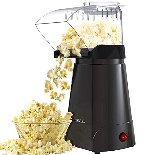 HIRIFULL 1200W Hot Air Popcorn Poppers Machine,Home Electric Popcorn Maker with Measuring Cup, 3 Min Fast Popping, ETL Certified, BPA Free, No Oil, DIY Flavors, Great for Home Movie,Party,Watching TV