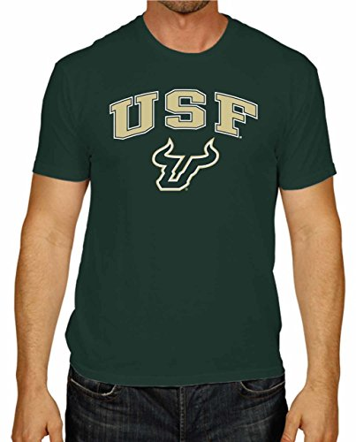 Campus Colors Adult Arch & Logo Soft Style Gameday T-Shirt (USF Bulls - Green, Medium)