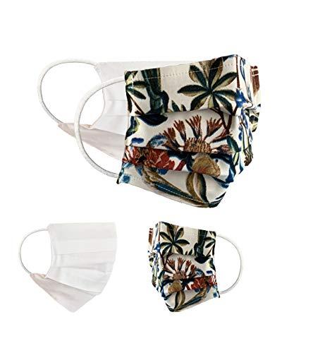 BaF Community Masken 2er Pack Set Unisex Behelfsmaske Wendbar Mundschutz Maske Mund- und Nasenschutz Wendemaske mit Motiv Baumwolle BCI Waschbar, Grün, Green_Style74