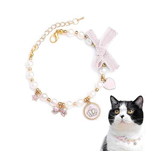 Walenbily - Collar para perros y gatos con corazón de piedras brillantes, corona para gatos y perros pequeños (rosa, S)