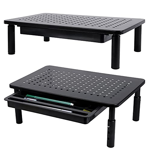 2 Pack Monitor Stand Riser with Drawer - 3 Height Adjustable Monitor Stand for Laptop, Computer, iMac, PC, Printer, Desktop Ergonomic Metal Monitor Riser Stand with Mesh Platform