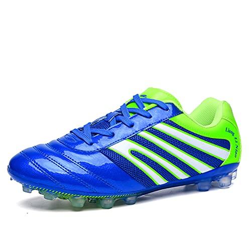 Zapatos de Entrenamiento de Spike Zapatos de fútbol cómodos de fútbol Sneaker Hombres/Mujeres Atlético al Aire Libre/Interior (Color : Blue, Size : 32)