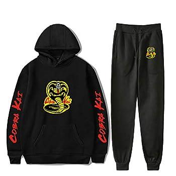 RongJun Unisex Cobra Kai Hoodie Pants Karate Kid Hooded Sweater Sweatpants 2 Piece Casual Sports Set  Medium Black 1