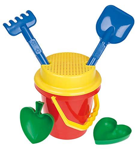Idena 7113460 - Sandspielzeug Set 6 teilig bestehend aus Eimer, Sieb, 2 Förmchen, Harke und Kleiner Schaufel, sortiert, zum Spielen am Strand und im Sandkasten
