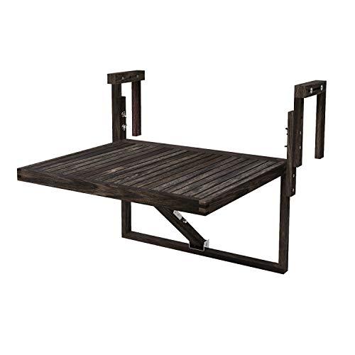 Interbuild Toronto Balcony Folding Deck Table, Outdoor Hanging Railing Bar Table, FSC Acacia Wood, 28 x 24 Inches, Adjustable, Espresso