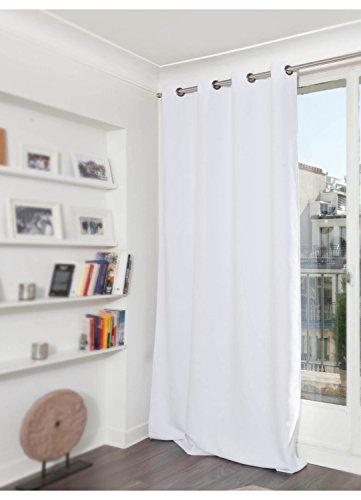 Homemaison Moondream Rideau Grande hauteur Phonique Thermique et Occultant, Polyester, Blanc, 300x145 cm