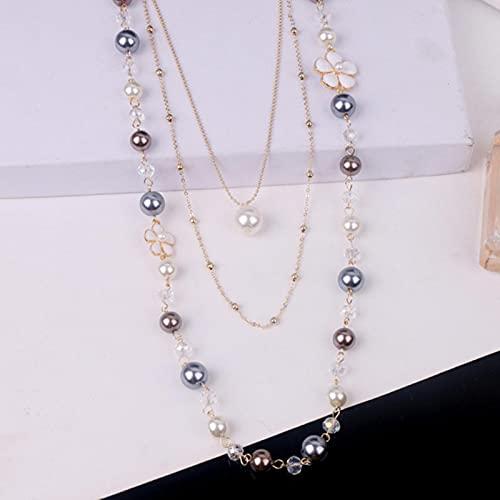 CXWK Collana a Catena Lunga Maglione di Perle Multistrato di Lusso Moda Femminile Famosa Collana Lunga Gioielli Festa