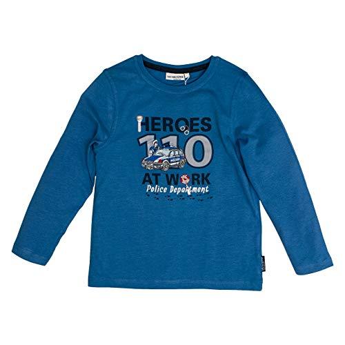 Salt & Pepper Jungen Highway Patrol Heroes at Work Applikation Langarmshirt, Blau (Blue Melange 454), 104 (Herstellergröße: 104/110)