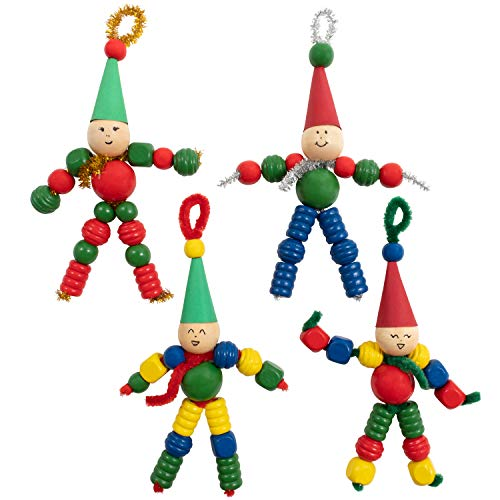 READY 2 LEARN Christmas Crafts - Create Your Own Bead Elves - Set of 4 - DIY Ornaments for Kids - Christmas Tree Decoration - All Materials Included
