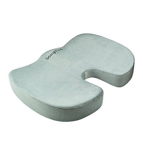 SnugPad Coccyx Orthopedic Memory Foam Cushion for Back Relief and Sciatica and Tailbone Pain-Ideal for Office Chair and Car Driver Seat Pillow, Silver
