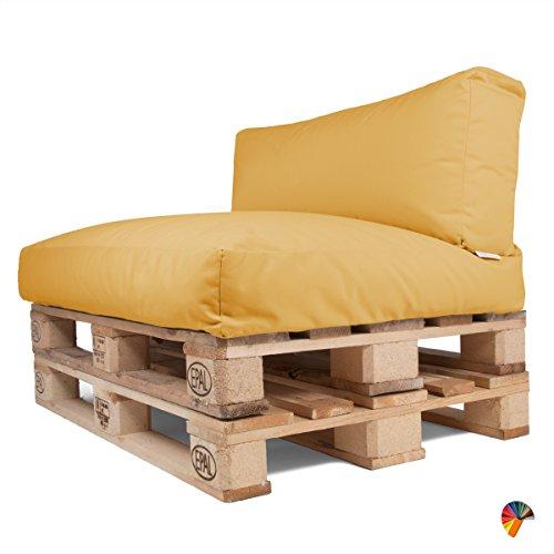 Arketicom Soft Palette, Set (Sitz 120x80x15 und Rücken 120x40x15) für Outdoor und Interieur Sofa Europalette WASSERABWEISEND ABNEHMBAR und WASCHBAR Acrylgewebe Fabric und sagex Gelbe Sonnenblume