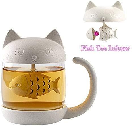 Tazza di tè alla tazza di vetro del gatto della bottiglia dell'acqua con il filtro dell'infusore del tè del pesce Filtro 250ML (12.5X8.6X11.9cm bianco)