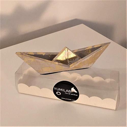 Velero grande estilo origami con acabado metal dorado, barco, velero, regalo, deco de mesa, navidad, mar