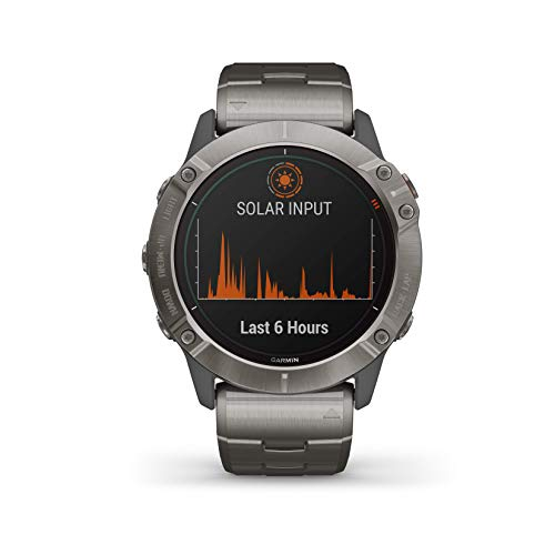 Garmin Fenix 6X Premium Multisport GPS Watches with Pulse OX, Routable Maps and Music with Included Wearable4U Power Pack Bundle (PRO Solar, Titanium with Vented Titanium Bracelet) 3