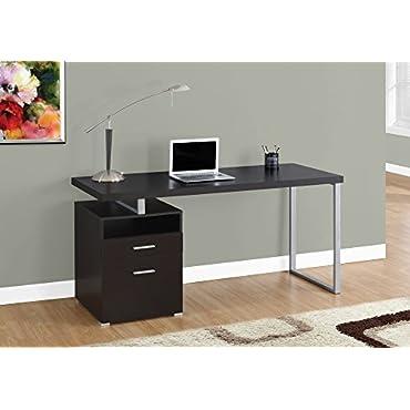 Monarch Specialties 60 Inch Industrial Design Office Computer Desk, Cappuccino