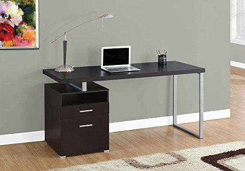 Monarch Specialties I 7145 Computer Writing Desk for Home & Office Laptop Table with Drawers Open Shelf and File Cabinet-Left or Right Set Up, 60' L, Cappuccino