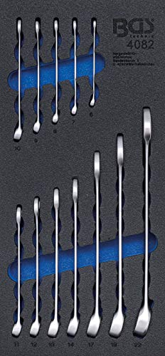 BGS 4082 | Werkstattwageneinlage 1/3: Maul-Ringschlüssel-Satz | 12-tlg | SW 6 - 22 mm | Gabelringschlüssel