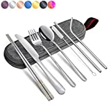 Annvchi Travel Camping Cutlery Set - Portable Silverware Set with Case and Straw, Straight Straw, Knife, Fork, Spoon, Chopsticks, Cleaning Brush 8 Piece (SIVER)