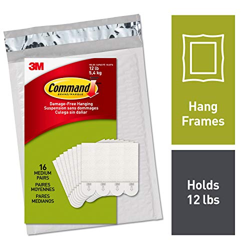 Command Picture Hanging Strips, Holds up to 12 lbs., 16 pairs (32 strips), Indoor Use