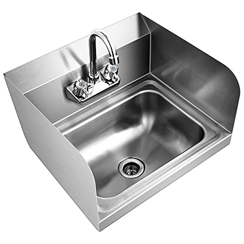 """Giantex Stainless Steel Hand Washing Sink, Wall Mount Hand Sink w/ Faucet, Side Splash, Stainer, Two Temperature Water Inlet, 17"""" x 15"""" Commercial Hand Sink for Restaurant, Kitchen"""