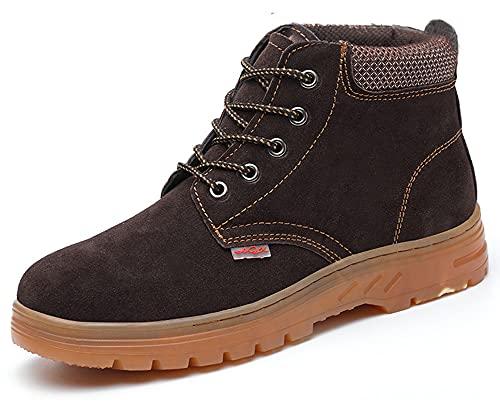 Botas y Zapatos de Seguridad con Puntera de Acero para el Invierno, Bota de protección, Calzado de Seguridad Hombre Mujer, Zapatillas de Industria Marrón 45 EU