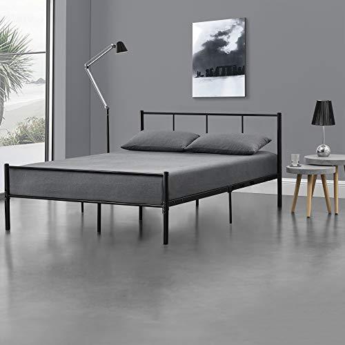 [en.casa] Metallbett 140x200 cm Schwarz auf Stahlrahmen mit Lattenrost Bettgestell mit Kopfteil Design Doppelbett Ehebett Gästebett