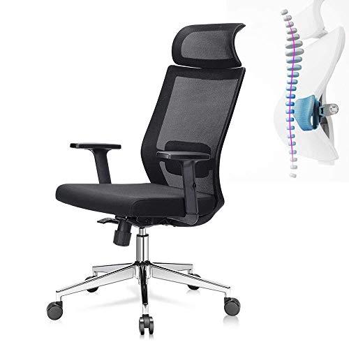 LULUTING Bürodrehstuhl Bürostuhl High Back Mesh-Bürostuhl mit Verstellbarer Sitzhöhe und den Arm Höhe Tilt Tension Lendenwirbelstütze und Wide Kopfstütze Computer-Bürostuhl