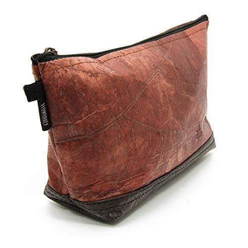 ECOMONKEY® Kulturtasche/Kulturbeutel + veganes Leder aus Blättern (Kunstleder) + leicht & wasserabweisend + Rot