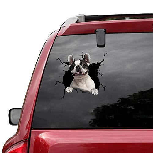 VUGALOLY STORE 1 pcs Cute French Bulldog Pet Puppy Miniature Black White Sticker Cars Crack Decal Trucks Walls Laptops 12x12inch Da-0223