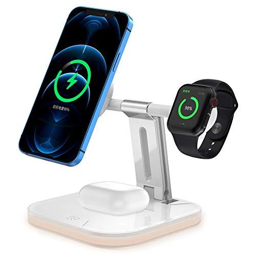 3 en 1 Cargador inalámbrico magnético plegable, adecuado para iPhone 12 Pro Mini mini/auriculares 15W Estación de carga inalámbrica rápida, marco de carga inalámbrico de escritorio