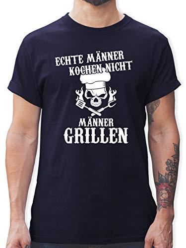 Küche & Grill - Echte Männer Kochen Nicht Männer Grillen - 3XL - Navy Blau - echte männer Kochen Nicht Grillen Shirt - L190 - Tshirt Herren und Männer T-Shirts