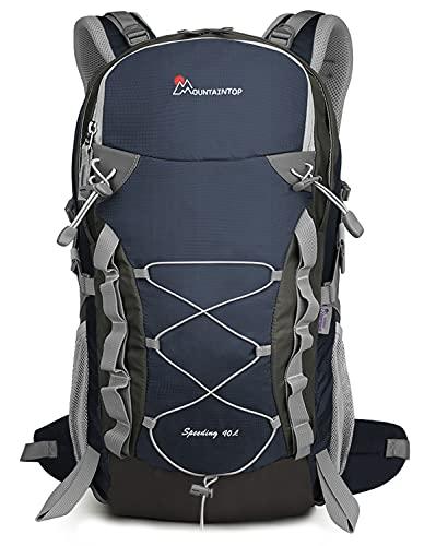 MOUNTAINTOP 40L Rucksack Wanderrucksack Trekkingrucksack Herren Damen Wandern Rucksäcke für Reisen Klettern Outdoor Sport (Blau)