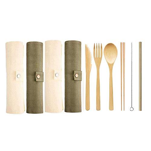 Moligh doll 4 Set Bambus Reisebesteck Set, Wiederverwendbare Tragbare Bambusgabel, L?Ffel, Messer, Essst?Bchen, Strohhalme, Pinsel (Armeegrün, Beige)