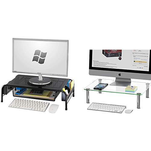 SimpleHouseware Metal Monitor Stand Riser + Glass Monitor Stand Riser