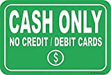 mengliangpu8190 12' x 18' Aluminum Sign Cash Only No Credit Debit Cards Sign Metal Funny Warning Signs for House Decor, Tin Sign