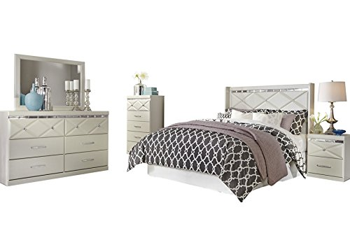 Ashley Dreamur 5PC Bedroom Set Full Panel Headboard Dresser Mirror One Nightstand Chest in Champagne