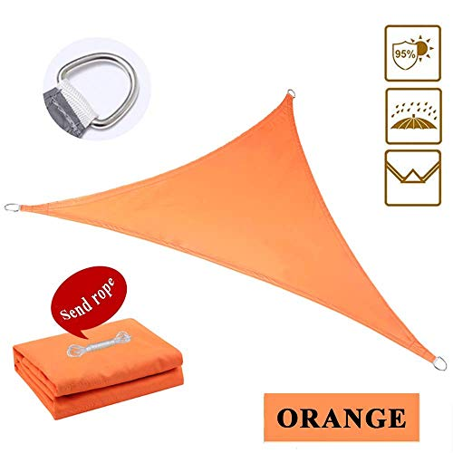 Jardin Sun Shade Sail Résistant À l'eau PES Sunscreen Auvent Canopy pour Patio Yard Party UV Block - Triangle, Orange 5X5X5M Canvas