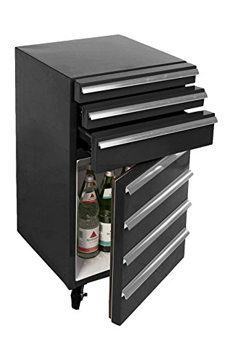 Mini-Kühlschrank für Getränke im retro Werkstattwagen-Look | schwarz, fahrbar, innovativ, stromsparend | exklusiver Bierkühlschrank auf Rollen ohne Gefrierfach | Gastro Cool | 3-Schubladen