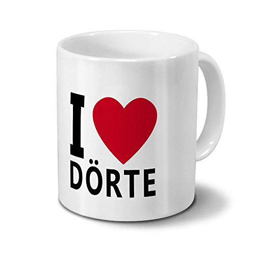 printplanet Tasse mit Namen Dörte - Motiv I Love Dörte - Namenstasse, Kaffeebecher, Mug, Becher, Kaffeetasse - Farbe Weiß