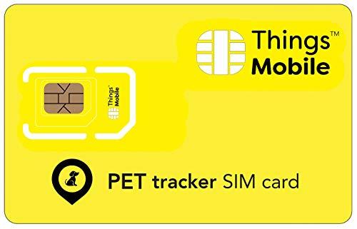 Carte SIM pour PET GPS TRACKER   TRACEUR pour ANIMAL DOMESTIQUE - Things Mobile - couverture mondiale, réseau multi-opérateur GSM 2G 3G 4G LTE, sans coûts fixes, sans échéance. 10 € de crédit inclus