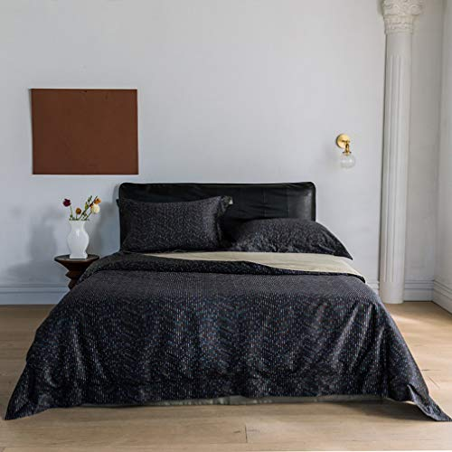 Bedding Duvet-cover-set,4 Pieces Long-staple Cotton Duvet Cover King with Zipper Closure, High Thread Count Long Staple Sateen Weave Silky Soft Breathable