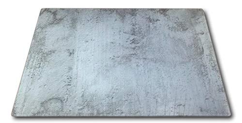 XL Glas Herdabdeckplatte Herdabdeckung Schneidebrett Abdeckplatte für Ceranfeld Design Beton Kochfeld Abdeckung Spritzschutz Herdblende
