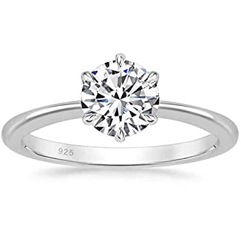 SOMEN TUNGSTEN 925 Sterling Silver 1 Carat Solitaire Round CZ Engagement Wedding Band Classic Six Prong Ring Size 7