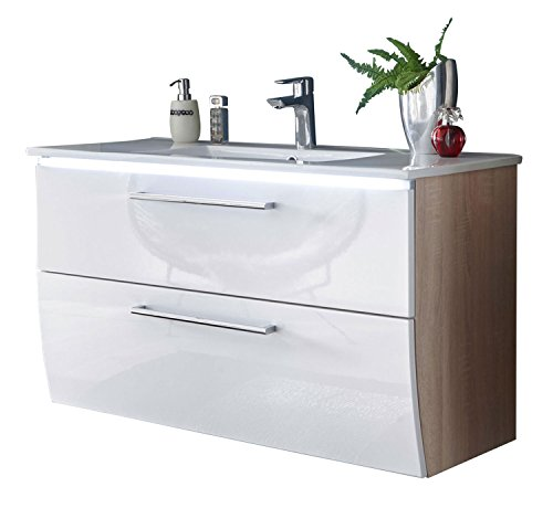 Waschbeckenunterschrank Waschtischkombination | Weiß Hochglanz | Eiche Sonoma | LED-Beleuchtung