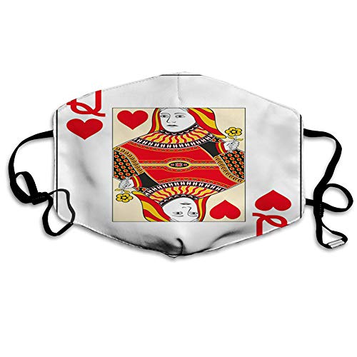 Queen of Hearts Playing Card Casino Design Gambling Game Poker Blackjack,Vermilion Yellow White Dust Washable Reusable Filter and Mouth Warm Windproof Cotton Face