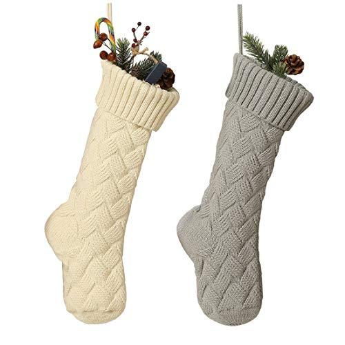 RedMaple - Calze natalizie a maglia, da appendere, ornamentali, per feste in famiglia, 46 cm, 2 pezzi (bianco + grigio), taglia unica