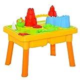 HOMCOM Kinder Sandspielzeug Sandkastentisch mit 23-tlg. Zubehör Spieltisch Strandspielzeug für 18-36 Monate PP Schlossthema 59L x 42 x 37 cm