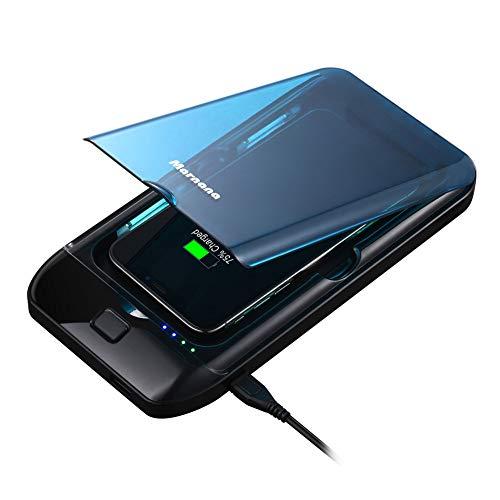 Marnana - Limpiador de teléfonos móviles con cargador inalámbrico y cargador USB, multiusos, caja de limpieza para teléfonos móviles iPhone, Android, llaves de joyería, color azul